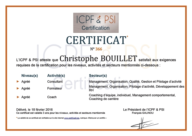 Certificat engagement ICPF PSI